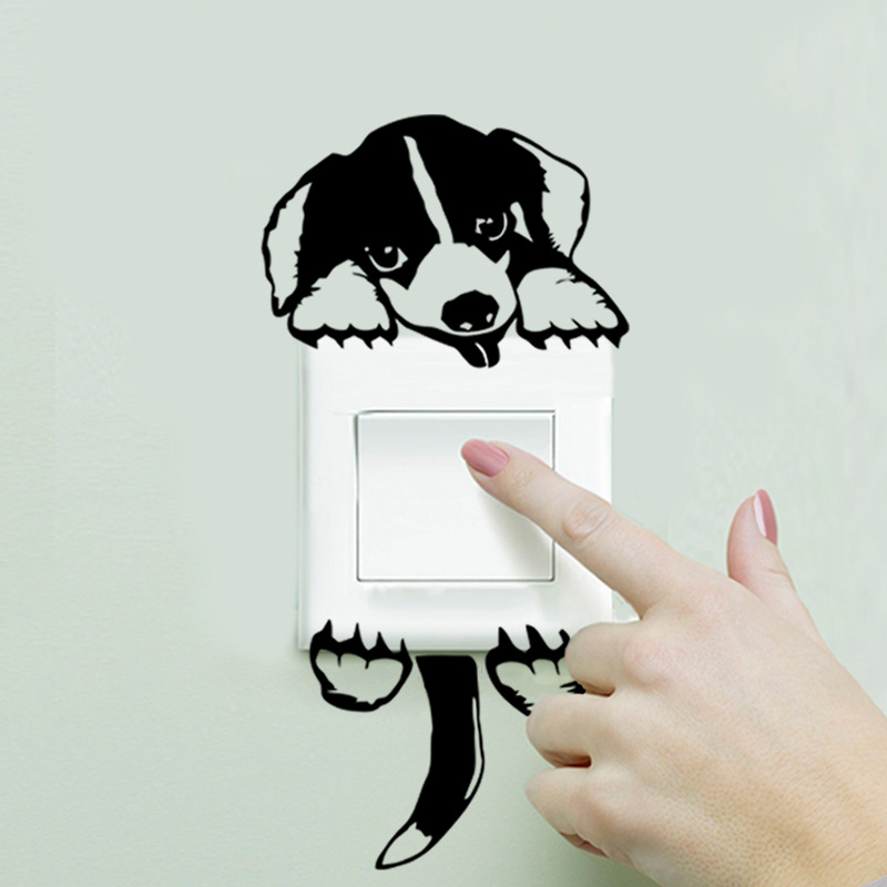 Cartoon Removable Cute Lovely Black Dog Puppy Socket Switch Wall Sticker Vinyl Decal Home Decor Animal Stickers On The Wall