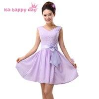 V neck lace up linii jasnopurpurowy piękna szyfonowa sukienka krótki lilac dziewczyna sukienek z koronki dla gości weselnych H3781