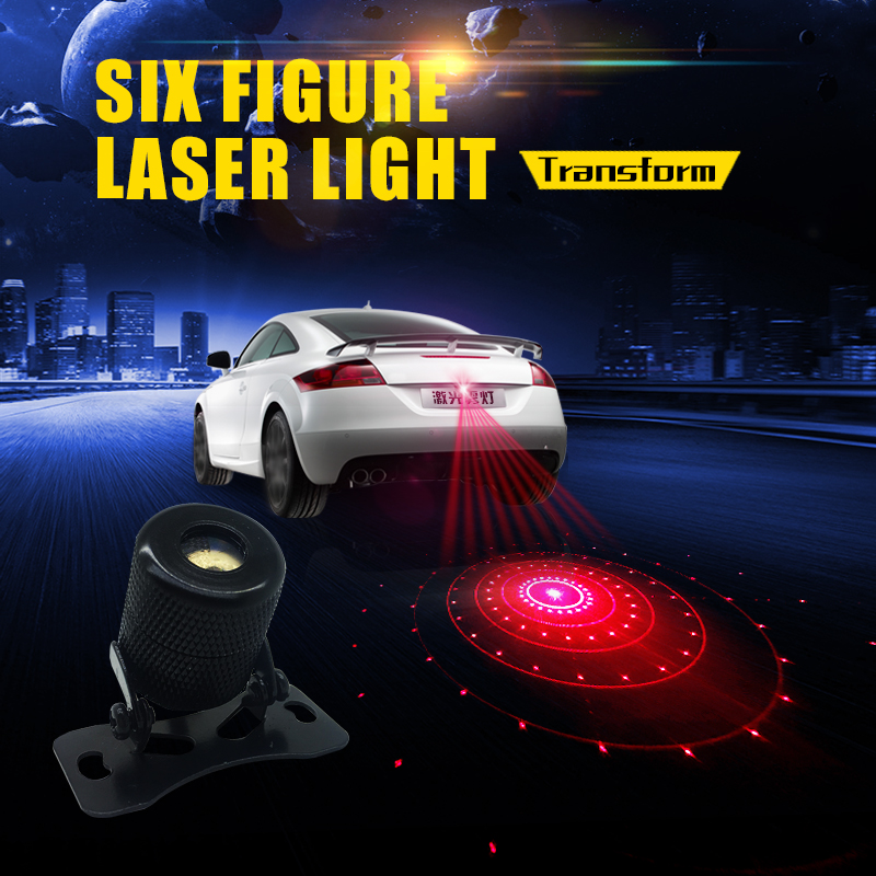 Car Decoration Warning Tail Rear-end Projector Fog Anti-Collision Laser Light Lamp Driving Safety Multi-Figure Styling