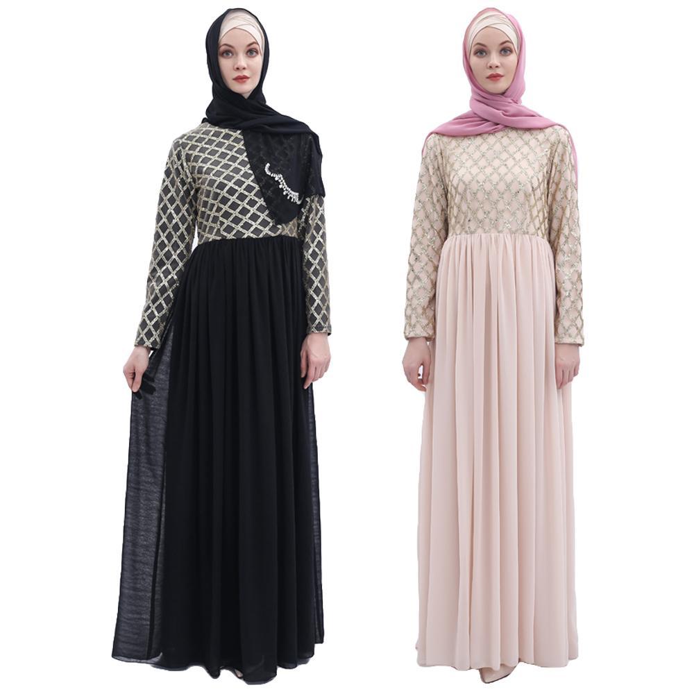 Abaya femmes Sequin en mousseline de soie longue Robe de soirée musulmane Jilbab dubaï caftan Robe Robe robes plissée drapée conception dubaï émirats arabes unis mode