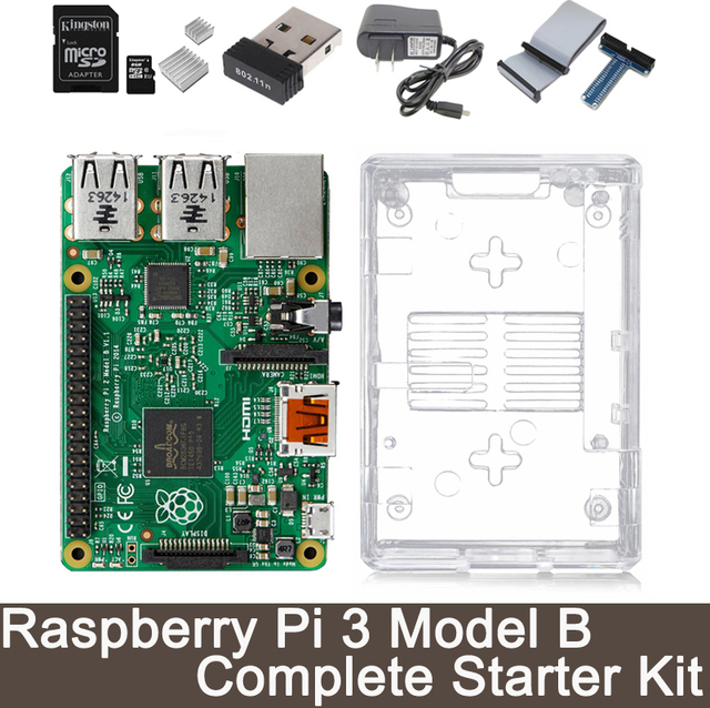 Raspberry Pi 3 Model B Complete Starter Kit -- Raspberry Pi 3 Model B / transparent case / 2.5A Power supply / Wifi Adapter