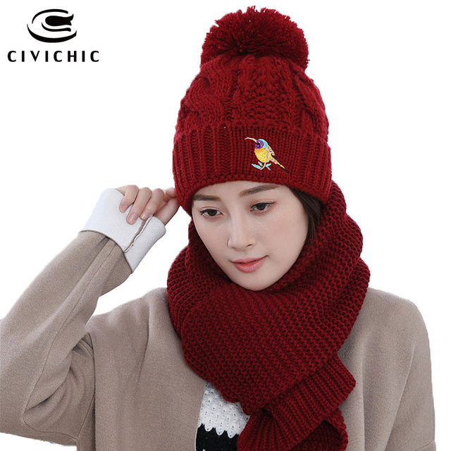 CIVICHIC Hot Fashion Herbst Winter Stricken Hut Schal Set Dame Warme ...