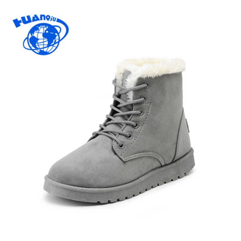 HUANQIU Kadın Botları Kar Sıcak Kış çizmeler kadın ayakkabıları Lace Up Kürk yarım çizmeler Bayanlar Kış Ayakkabı KC003