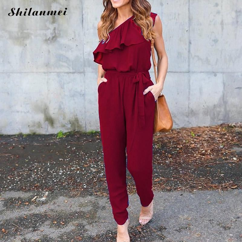 Jumpsuits 2017 Summer Ruffles Chiffon Overalls Sexy Casual One Shoulder Long Playsuits Rompers Women Jumpsuit Plus Size