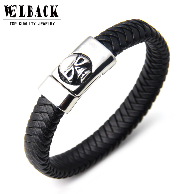 2017 Fashion Men's Stainless Steel Magnetic Clasp Black Leather Skull Bracelet Charm Bracelets Trendy Jewelry Accessories