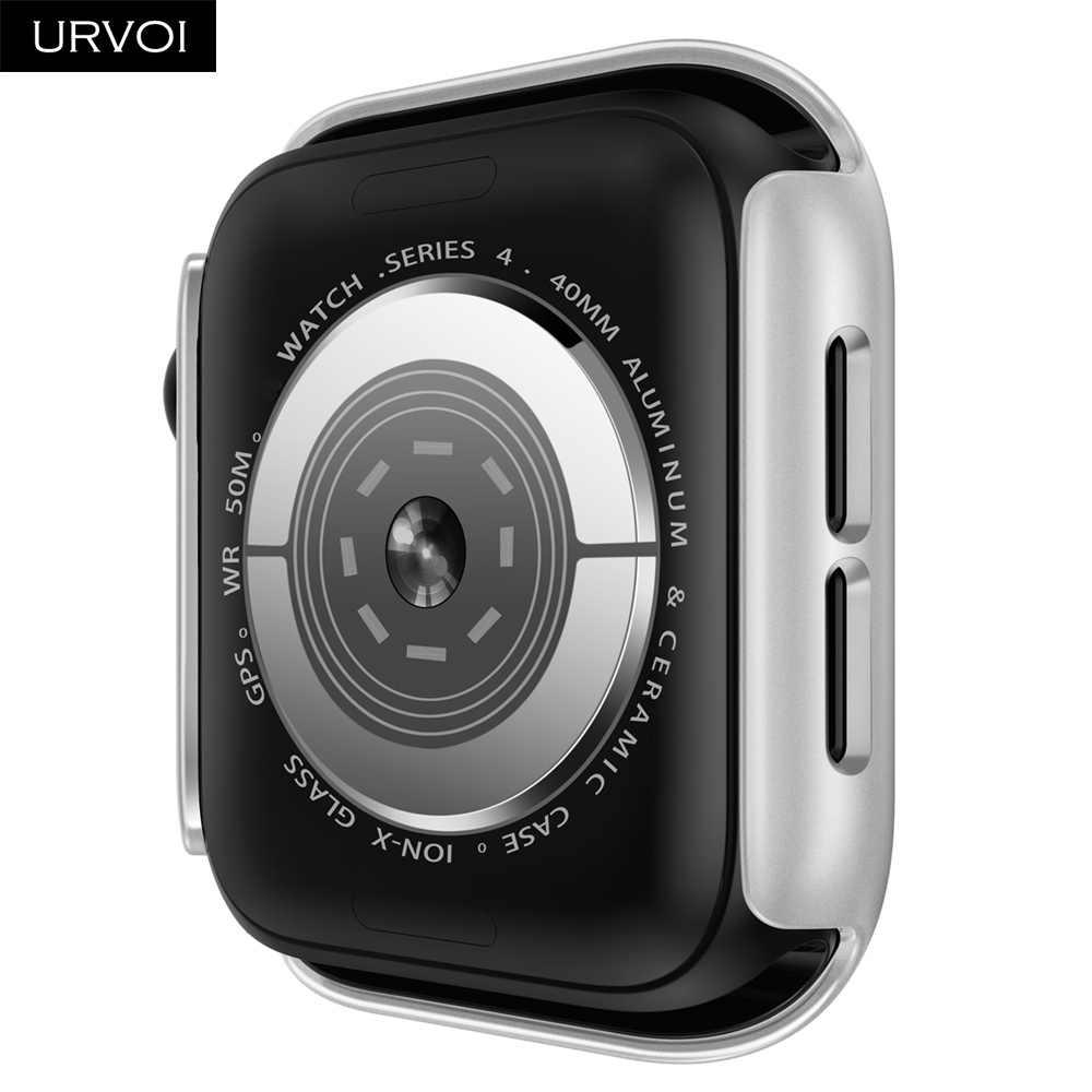 URVOI пластиковый чехол для Apple Watch series 5 4 Жесткий ПК Рамка нормальный Бампер протектор для iWatch slim fit Тонкий чехол ремешок 40 44 мм