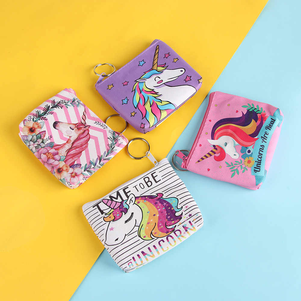 1pc Cute Unicorn Coin Pocket Purses Women Small Storage Pouch For Card Holders Key Case Zipper Girls Change Wallet Money Bag