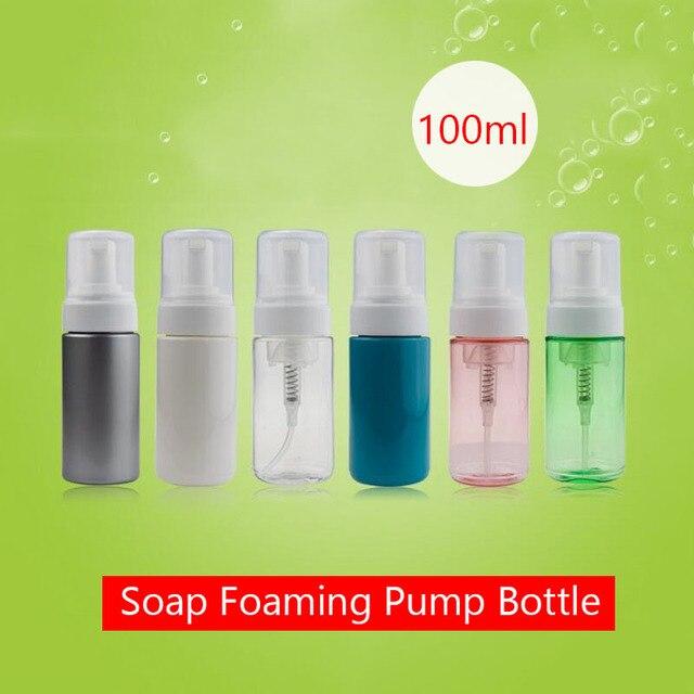 b61d384f4594 US $8.26  100 ml Empty Makeup Bottle Foam Refill Soap Pump Silver Pink  Plastic Soap Cosmetic Bottles 100ml Clear Foaming Pump Bottles-in  Refillable ...