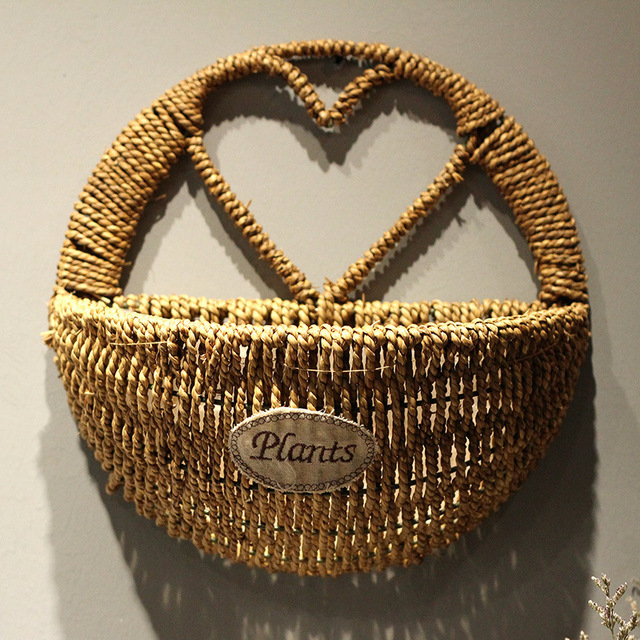 Whism wall mount hanging straw basket hemisphere heart shape plants whism wall mount hanging straw basket hemisphere heart shape plants applique for wedding decoration home sundries junglespirit Choice Image