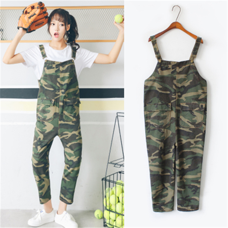 2017 Summer New Rompers Camouflage Denim Harajuku Vintage Casual Loose Women High Waist Pockets Jeans Stretch Overalls Pants  2016 hot sale denim overalls women new arrival autumn winter denim bib pants female jeans rompers harajuku woman jeans lx6107