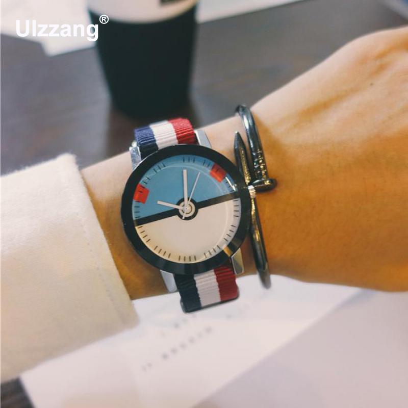 100% New Hot Sale Poke Ball Nylon 3ATM Shockproof Quartz Wrist Watch Wristwatches Hours For Men Women Students Children