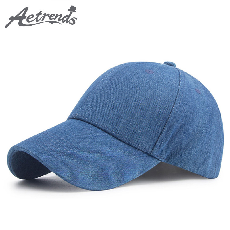 [AETRENDS] 2018 New Summer Pure Cotton Blue   Baseball     Cap   Women Men Outdoor Sport   Caps   Travel Snapback Bone Hats Z-6346