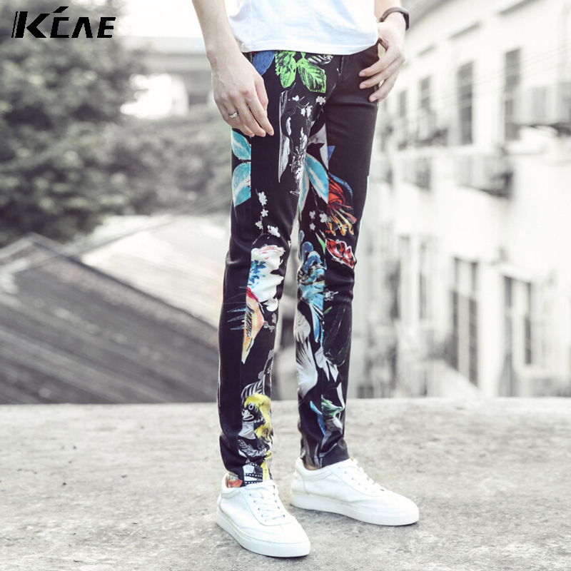 ФОТО Hot Sale Printed Jeans Men Fashion Brand Casual Pants For Men 2016 Designer Denim Overalls High Quality Straight Men Jeans