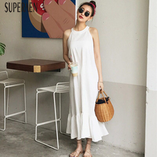SuperAen Korean Style Women Sleeveless Dress Fashion Cotton