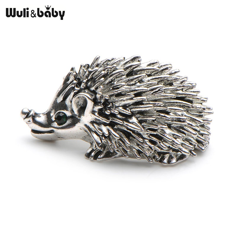 Cute Silver Color Hedgehog Sagės Kawaii Alloy Hedgehog Gyvūnų kostiumai Sweater Dress Hat Brooch Pins Scarf Buckle