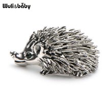 Cute Silver Color Hedgehog Brooches Kawaii Alloy Hedgehog Animal Suits Sweater Dress Hat Brooch Pins Scarf Buckle(China)