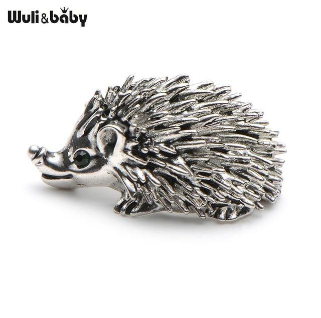 Cute Silver Color Hedgehog Brooches Kawaii Alloy Hedgehog Animal Suits Sweater Dress Hat Brooch Pins Scarf Buckle