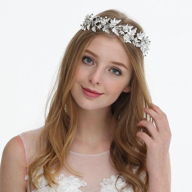 Dower me Silver Leaf Wedding Tiara Headband Bridal Rhinestone Hair Crown  Vine Women Prom Dress Headpiece 35dd3a4ef149