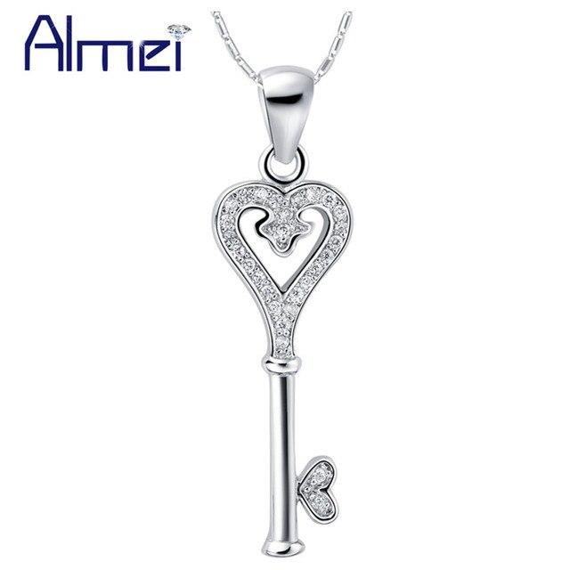 Almei 15%Off Suspension 2017 Silver Color Zircon Necklace Women Choker Key Heart Necklaces & Pendants White Stone Chain N789