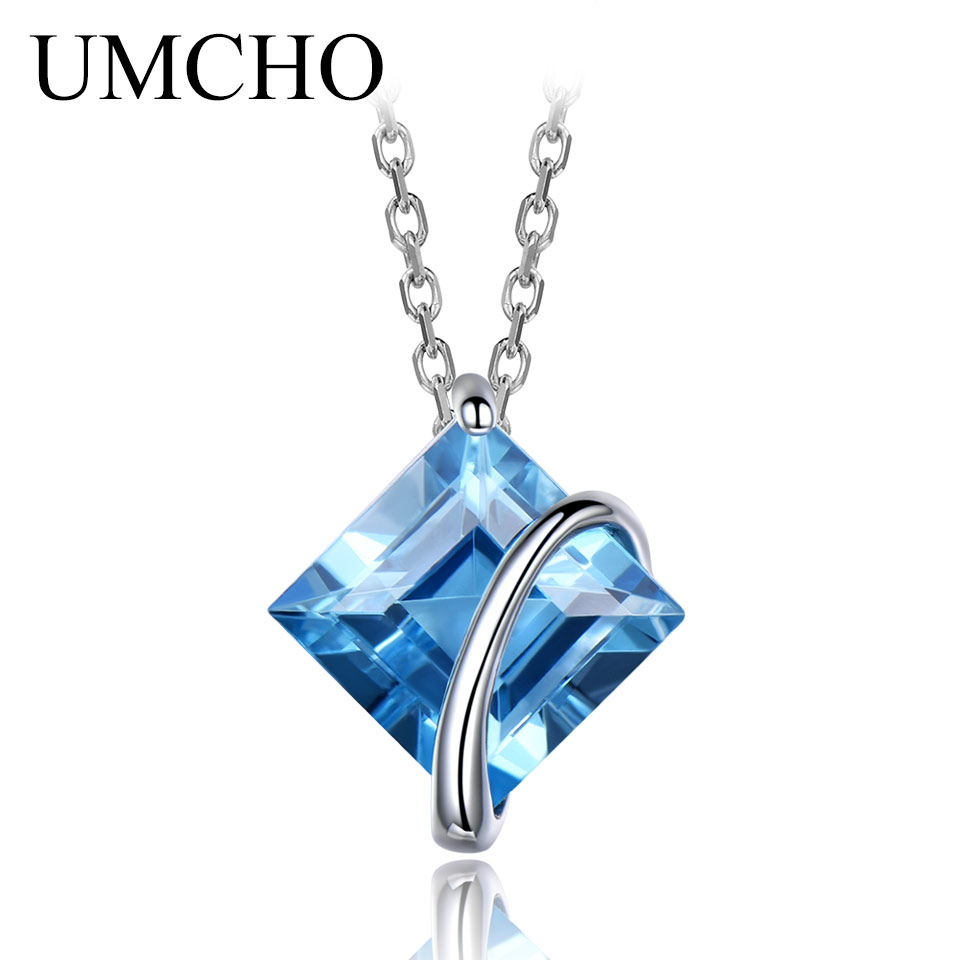 UMCHO 3.4ct Genuine Natural Swiss Blue Topaz Gemstone Pendants Necklaces For Women Pure 925 Sterling Silver Necklace Jewelry umcho solid 925 sterling silver necklaces pendants sky blue topaz necklace for women gemstone fashion christmas jewelry new 2019