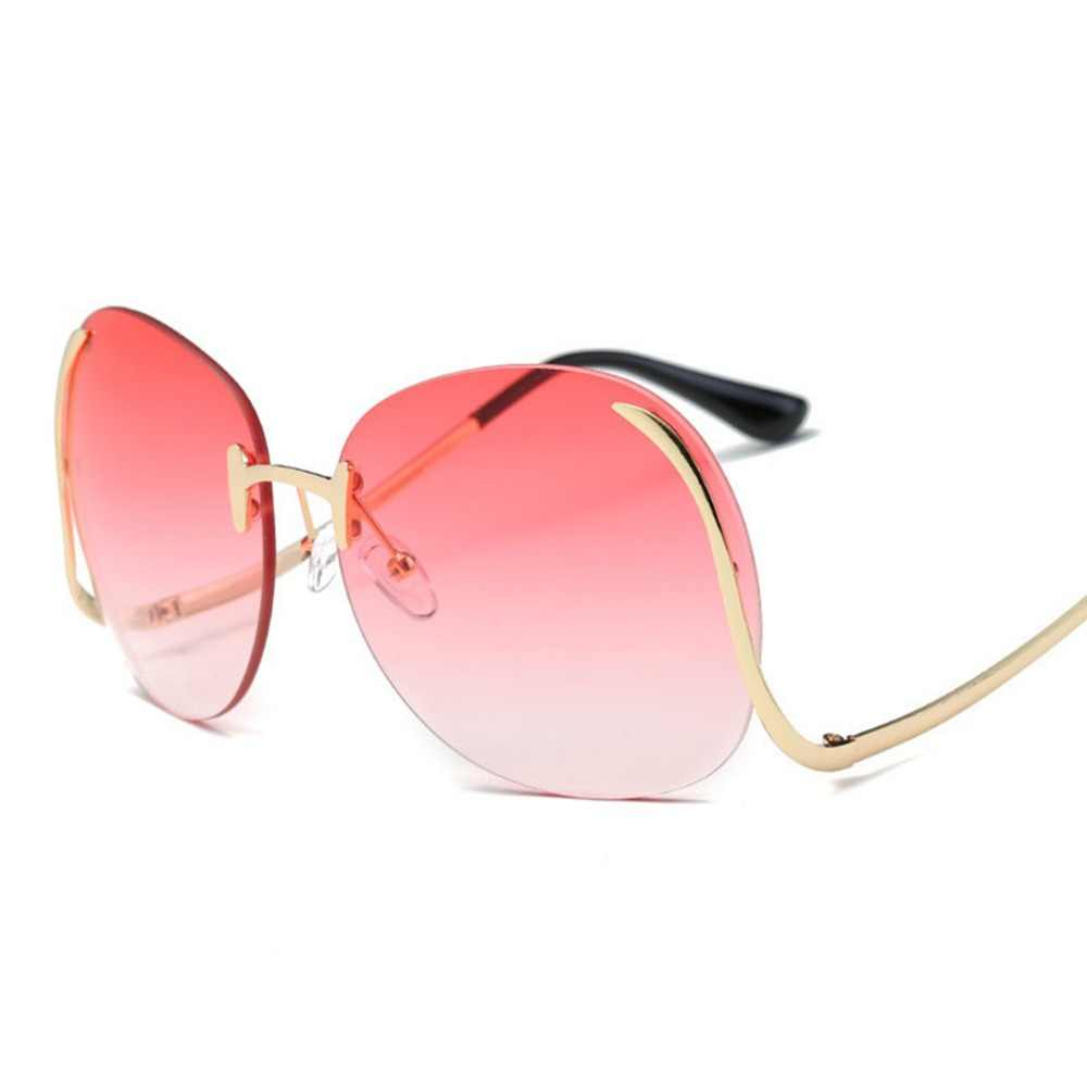 b01a6699fa Fashion Rimless Gradient Fashion Sunglasses Women Oversized Clear Lens Optics  Metal Vintage Sun Glasses Frame Retro