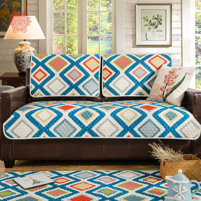 Modern style multi color geometric print Sofa cover cottonlinen