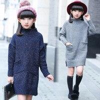 Dziewczyny sweter swetry zimowe podkoszulek dzieci sweter dla dziewczyn dziania wzór ciepłe swetry z golfem dziewczyny ubrania