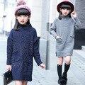 Niñas undershirt niños suéter suéter de invierno para las niñas cuello alto tejer patrón caliente prendas de punto ropa de las muchachas