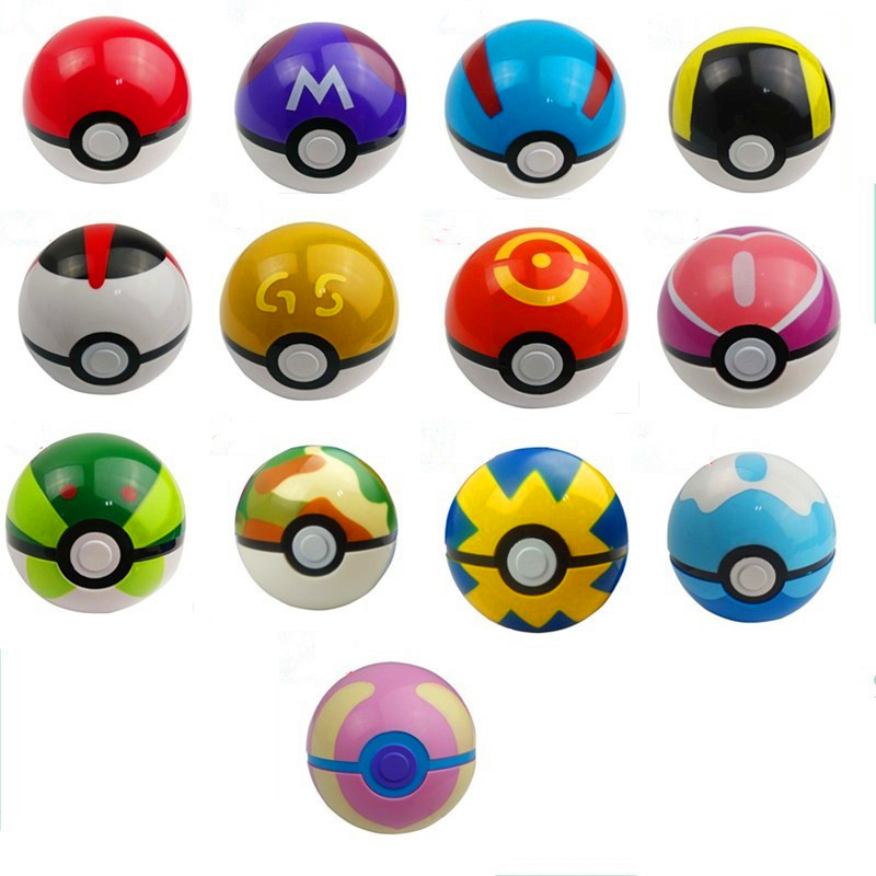 7cm 13 Color <font><b>PokeBall</b></font> <font><b>ABS</b></font> <font><b>Anime</b></font> <font><b>Pikachu</b></font> Game Toys Super Master Ball Toys Poke ball <font><b>Action</b></font> <font><b>Figures</b></font>