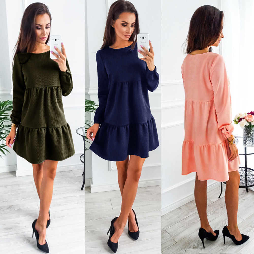 2019 New <font><b>Women</b></font> <font><b>Dress</b></font> Autumn And Winter Fashion Long Sleeve <font><b>Dresses</b></font> <font><b>Blue</b></font> <font><b>Pink</b></font> ArmyGreen <font><b>Womens</b></font> Clothing <font><b>Sexy</b></font> <font><b>Dress</b></font> image