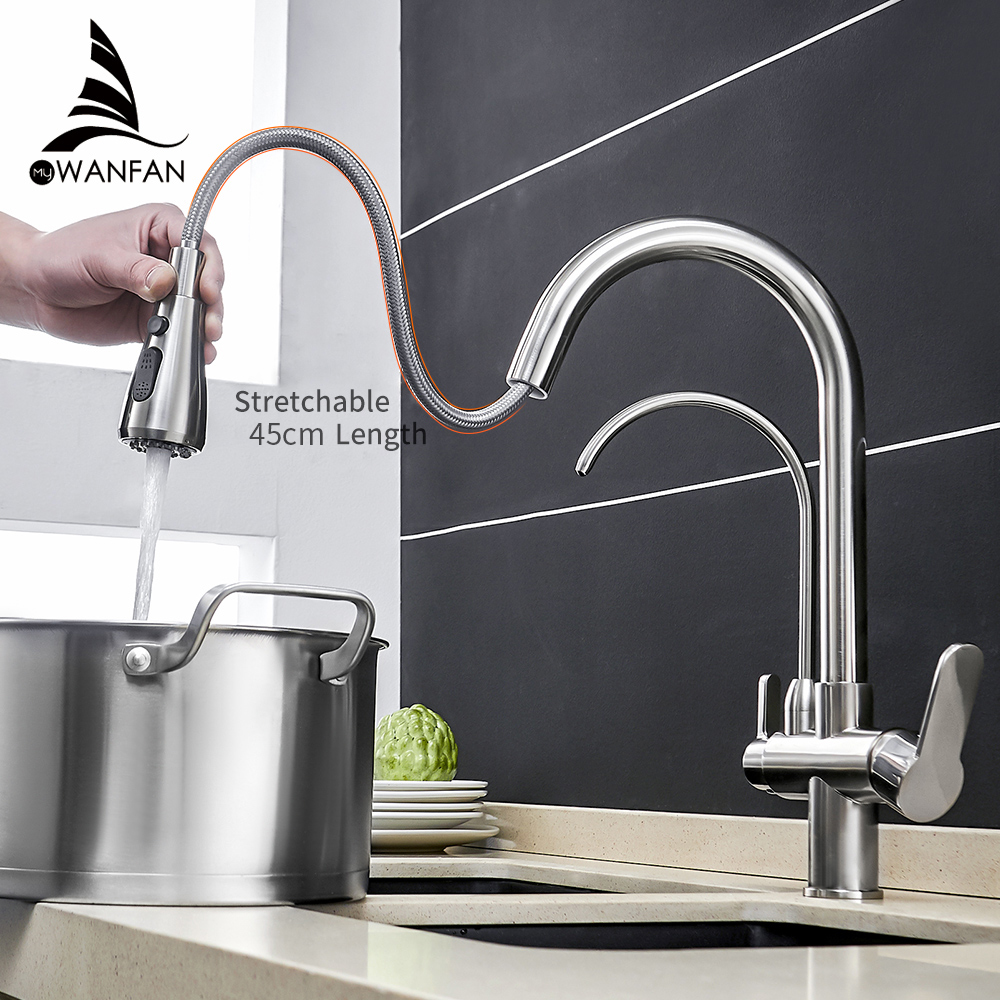 Torneiras de cozinha torneira para parede guindaste para cozinha filtro água três maneiras pia misturadora torneira da cozinha WF-0195