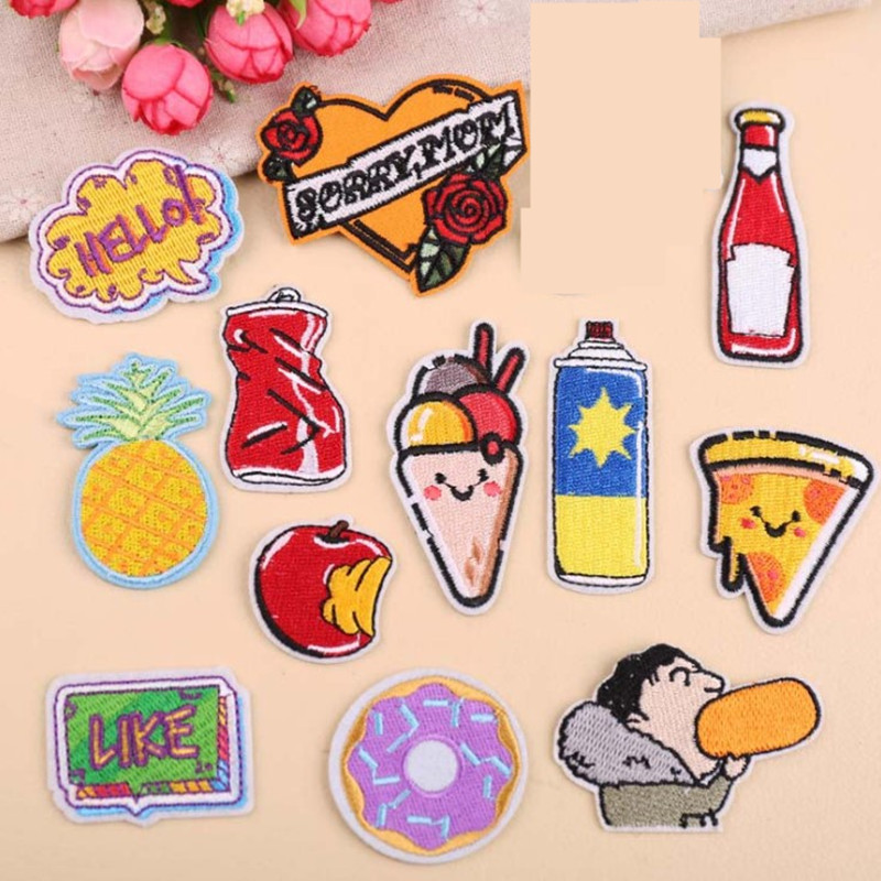 DOUBLEHEE Food Drink Patch Embroidered Patches For Clothing Iron On Close Shoes Bags Badges Embroidery