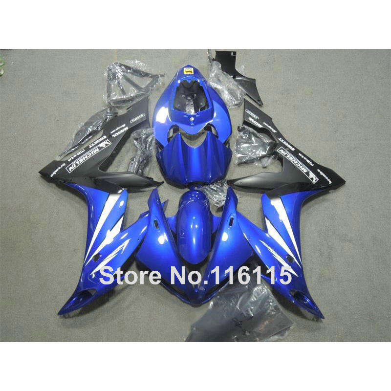Injection molding perfect fit for YAMAHA YZF R1 2004 2005 2006 blue black fairings set YZF-R1 04 05 06 fairing kit XL93 compression mold fairing kit for yzfr1 04 05 06 yzf r1 2004 2005 2006 yzf1000 cool blue black fairings set 7gifts yn14