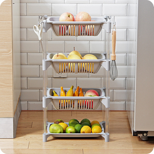 Image 2 - Keuken Organizer Pp Opslag Rack Plank Met Beweegbare Mand Badkamer Keuken Koelkast Side Planken 3/4 Lagen Fruitmand