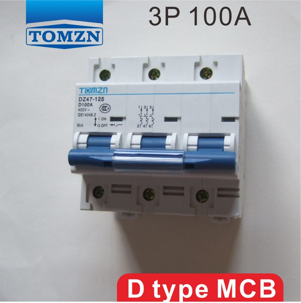 3 P 100A 240 V/415 V 50 HZ/60 HZ Devre kesici MCB3 P 100A 240 V/415 V 50 HZ/60 HZ Devre kesici MCB