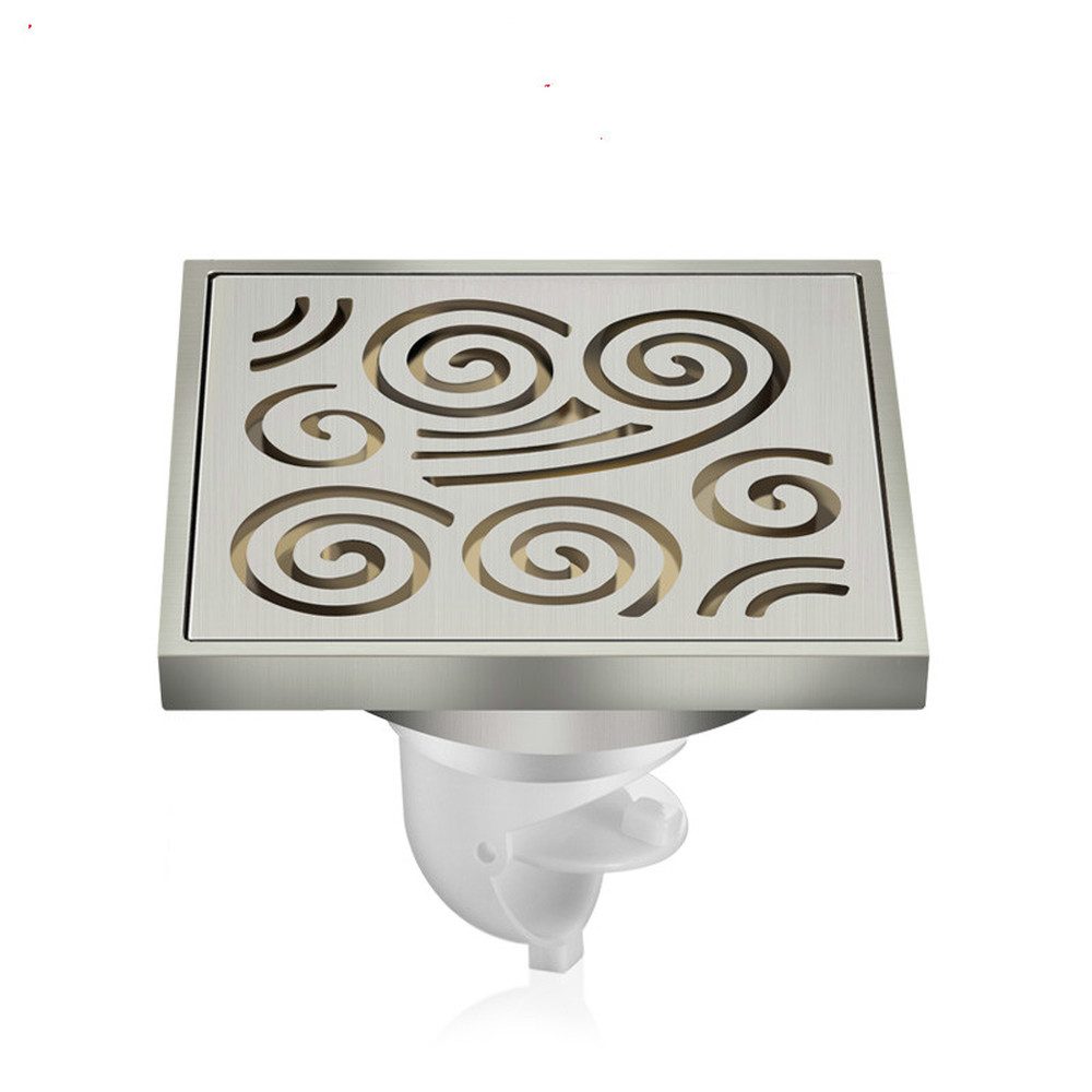 A1 Bathroom floor drain sewer drainage stainless steel kitchen floor drain deodorant floor drain counter water pipe LU5252 wall drainage large traffic stainless steel 30cm bathroom surface titanium gold floor drain big flow rate refuse nasty smell
