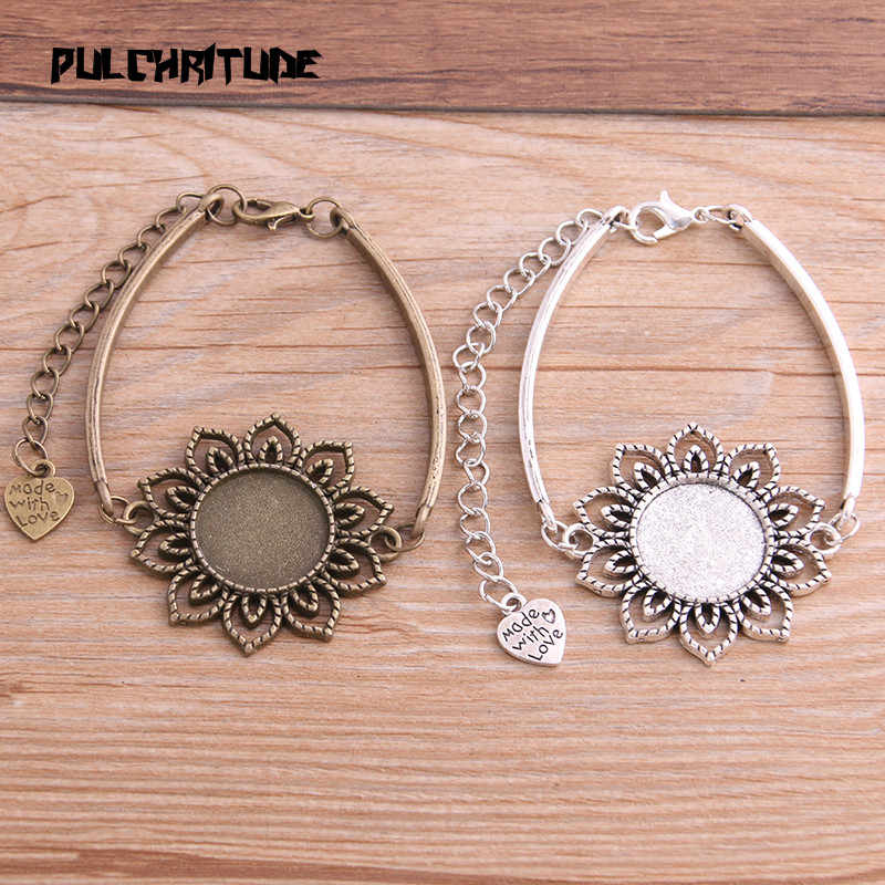PULCHRITUDE 1pcs Two Color Zinc Alloy Blank Bracelet Settings 18mm Round Flower Cabochon Bangle Bezel Trays Diy Jewelry Base