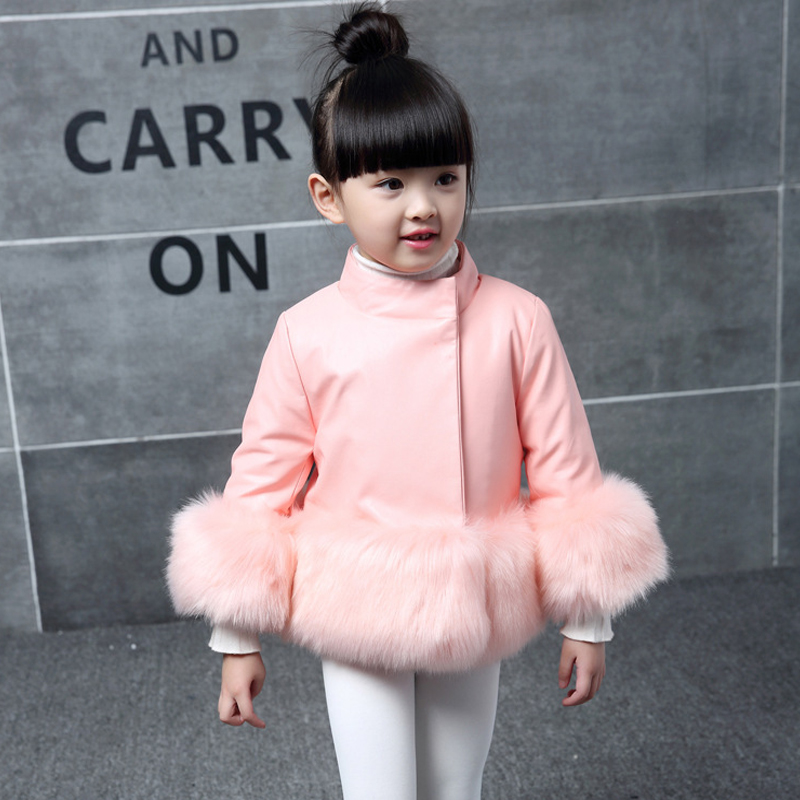 Kids girl's PU leather patchwork fox faux fur collar jacket coat down parkas thicken coat princess winter outerwear fur coat