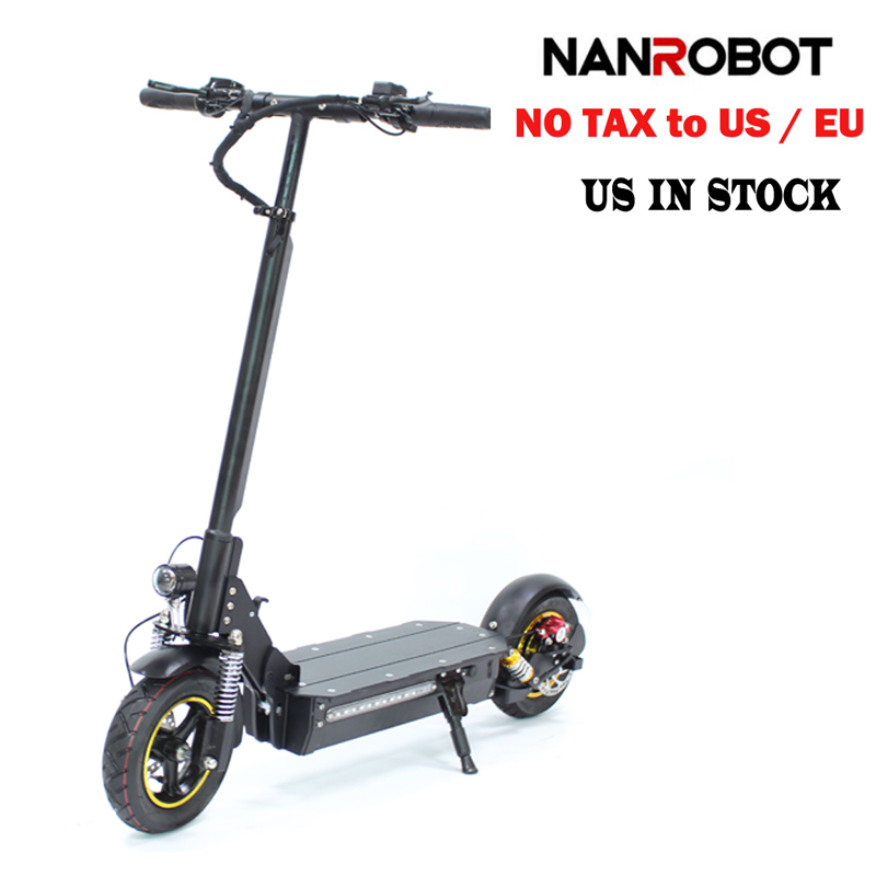 """NANROBOT D3 10"""" 1000W Single Motor Adult Electric Scooter 48V 18AH Lithium Battery Foldable 43 Miles Long Range Speed 28 MPH"""
