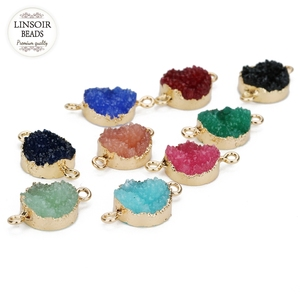 LINSOIR 5Pcs/lot Round Resin Stone Charms Diameter 13.5mm Colorful Druzy Quartz Connector Pendants Charms For Diy Jewelry Making(China)