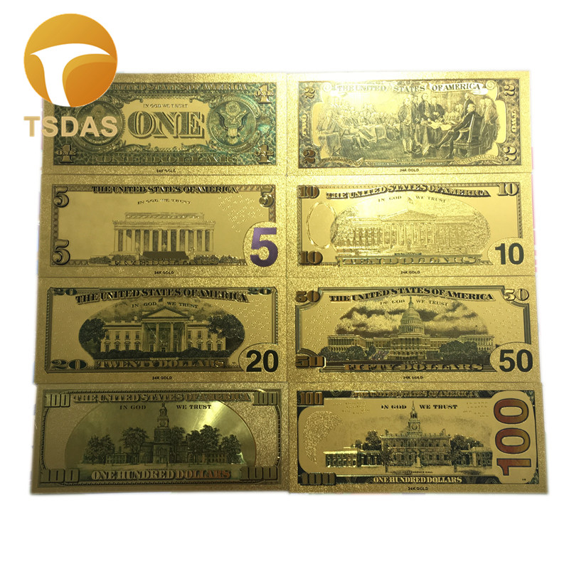USA Gold Banknote Set 8pcs lot Colored $1 100 Dollar 24k Gold Foil Banknote Collection Business Gift in Gold Banknotes from Home Garden