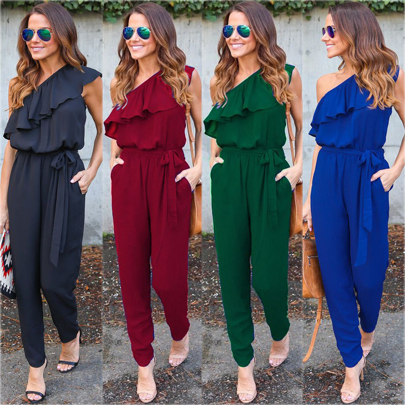 2017 Summer Women Ladies Fashion One Shoulder Ruffle Playsuit Romper Bodycon Party Solid Slim   Jumpsuit