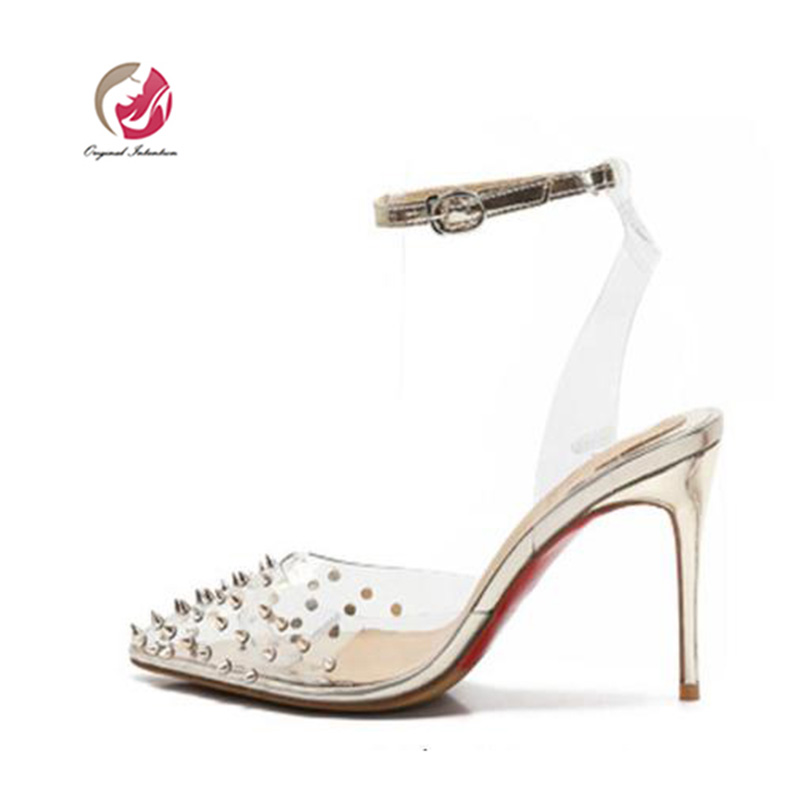 Original Intention Women Sandals Fashion Rivet Pointed Toe Thin High Heel Transparent PVC Ankle Buckle Strap Nice Gold Silver .