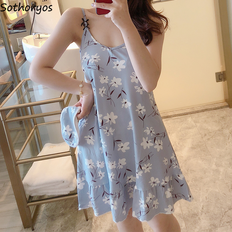 Nightgowns Women Kawaii Printed Comfortable Korean Style Loose Leisure Simple Womens Clothing High Quality Lovely Home Students
