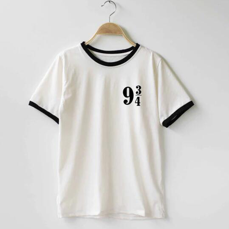 Women platform 9 3 4 harry potter t shirt cotton o neck for Custom t shirts one day delivery