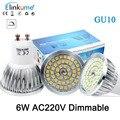 8 pçs/lote GU10 led 220 V lâmpada LED 6 W Pode Ser Escurecido Lâmpada LED-resistente ao Calor de alumínio SMD2835 48 LEDs Bulbo refletor Para A luz Interior