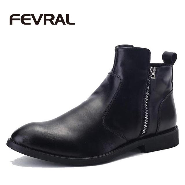 FEVRAL Marca Hombres Botas Cómodas de Invierno Negro A Prueba de agua de Calidad Botines de Moda Casual Hombres Zapatos de Cuero Botas de Otoño