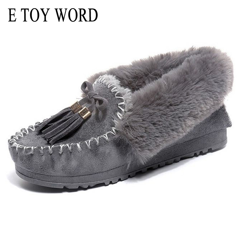 E TOY WORD Winter Snow Boots Flat With Warm Platform Ankle Boots Women Shoes Round Toe Fashion Fur Butterfly-knot Botas Mujer doratasia big size 34 43 women half knee high boots vintage flat heels warm winter fur shoes round toe platform snow boots