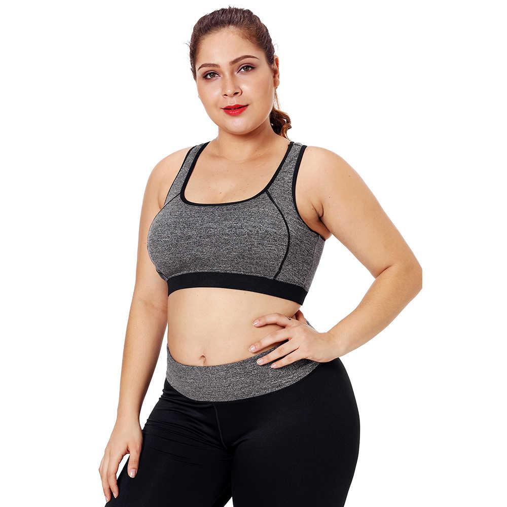0208fa3bb45 ... Fitness Women seamless Sport Bra Big Plus Size Piping Trim Racerback  Yoga Workout Sports bust Bras ...