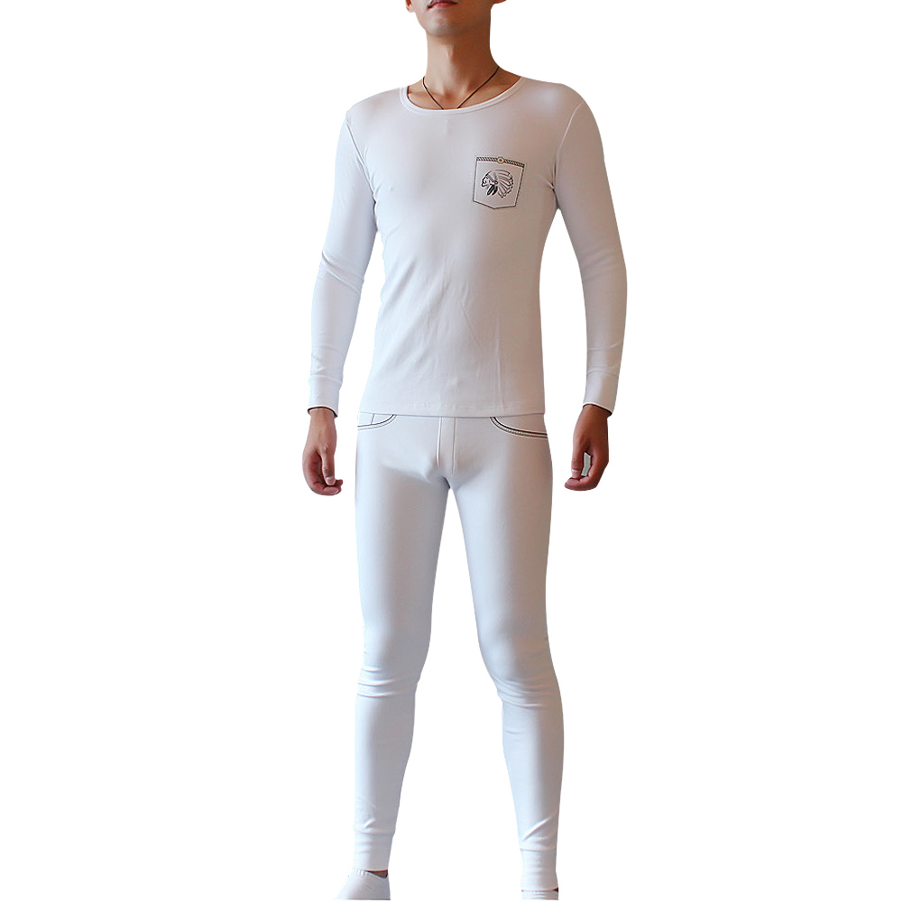 Winter Long Johns For Men Elastic Thermal Underwear Suit False Belt Design Warm Top Home Sleepwear Sets Underwears  LB
